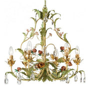 Glass Crystals & Flowers Chandelier in Gold & Green Metal