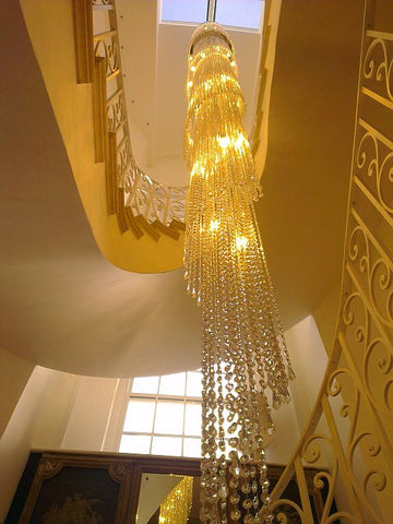 Tall Italian crystal stairwell chandelier in custom sizes