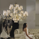 18 light golden chandelier with Swarovski crystals