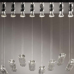 Steel ceiling light with optically pure crystal bars