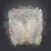 Pastel-coloured glass floral wall light from Italy