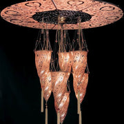 Fortuny style 7 light Murano glass cluster with disc