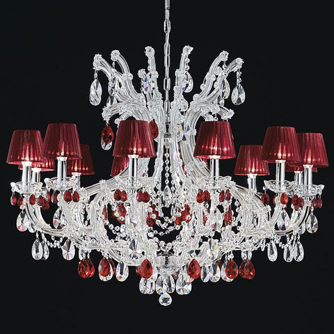 12 Light chrome chandelier with red cut crystal pendants
