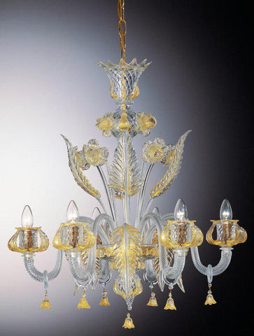 Murano glass chandelier with gold flowers and chain