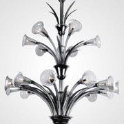Venini steel grey glass chandelier
