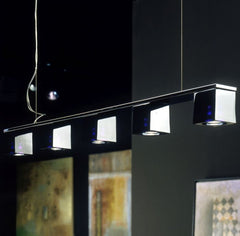 Fabbian Cubetto long clear white or black crystal ceiling light