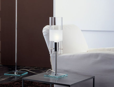 Modern chrome lamp with Murano glass diffuser