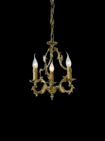 Traditional small gold-plated chandelier with 3 candle lights