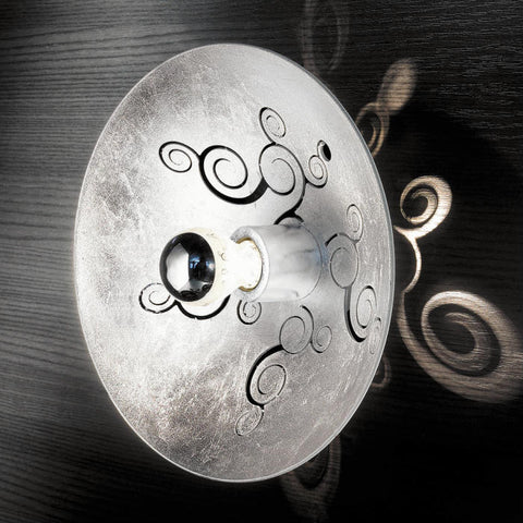 Futuristic circular silver metal wall and ceiling lamp