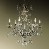 Handmade iron and crystal chandelier with 6 lights