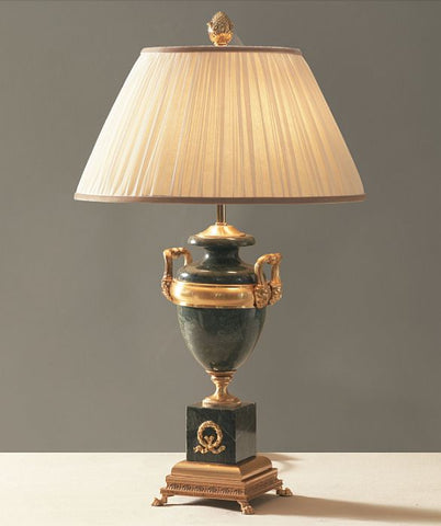 Black Marquinia marble table lamp with 24 carat gold detail