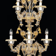 Murano clear glass & gold wall sconce in the Rezzonico style