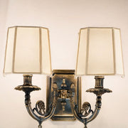 Traditional Wall Sconce with Ivory Shades