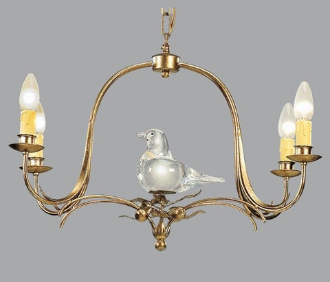 4 Lamp Gold Metal Chandelier with Murano Glass Bird