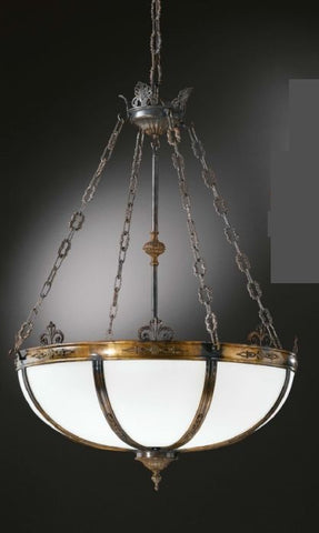Antique bronze and satin glass bowl chandelier luxury italian english style ceiling light aloadofball Images