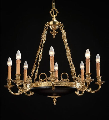 8 light French gold chandelier with painted bowl