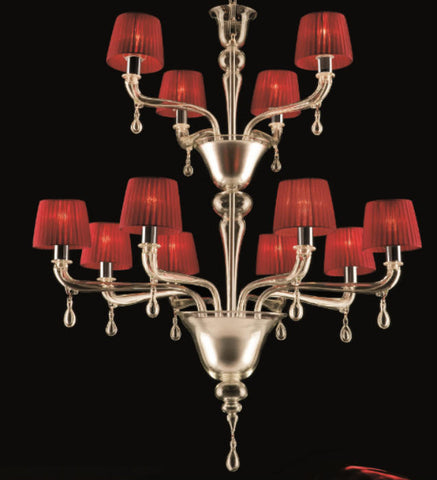 Two tier Italian chandelier with red shades