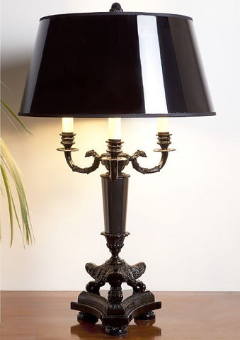 Classic black stonelite table lamp with shiny black shade
