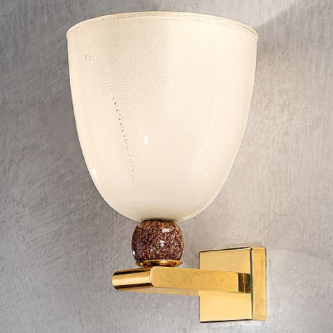 Modern Italian wall uplighter with white Murano glass diffuser