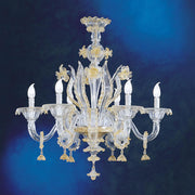 Clear Murano glass floral chandelier with 6 lights