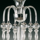 Elegant clear Murano glass chandelier with 6 lights