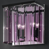Modern metal wall light with amethyst glass diffuser
