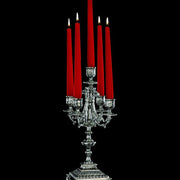 Antiqued silver five arm candelabra