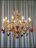 Murano 10 arm Chandelier with Multicoloured Fruits