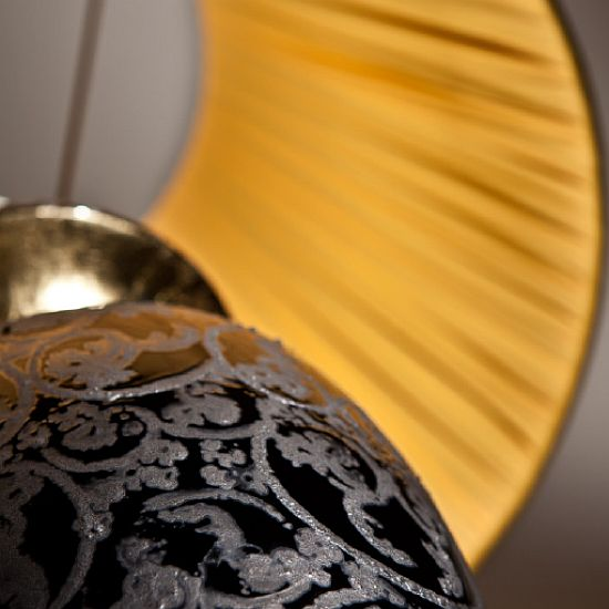 Ceramic table lamp with grey, black and gold leaf damask pattern