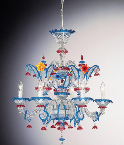 Blue, red and yellow 6 light Murano glass chandelier