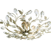 Gold Leaves Antique-finish Ceiling Light with Swarovski Elements