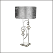 Silver floor lamp with Bohemia crystal and silver shade