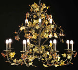 Modern rustic chandelier in earth tones with crystal flowers