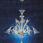 Clear glass Murano chandelier with 6 flower lights & gold trim