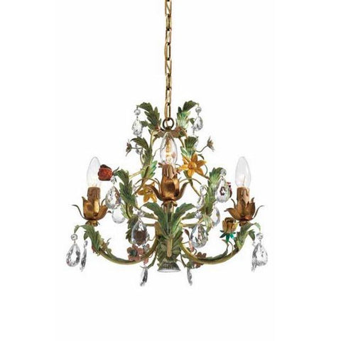 Gold & Green Metal Chandelier with Glass Crystals & Flowers