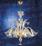 8 arm gold and clear Murano glass chandelier