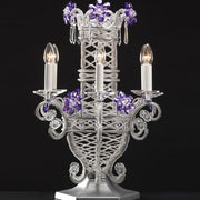 Purple Swarovski crystal flambeau table light