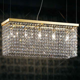 Long  gold or chrome crystal dining table chandelier