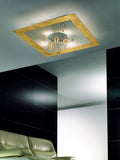 Gold leaf 4 light ceiling pendant with gold glass drops