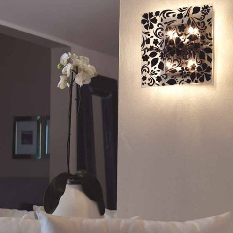 Black or white velvet and glass wall or ceiling light