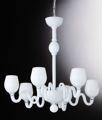 White and crystal Murano glass chandelier