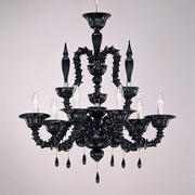 6 light Rezzonico-style Murano chandelier in a range of colours