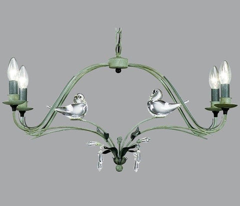 Green Metal Chandelier with Murano Glass Birds