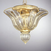 Murano glass ceiling light fixture with gold
