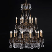 Spectacular 18 light crystal and brass chandelier