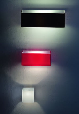 'Fusion' red, black or white glossy glass wall lights