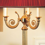 24 carat gold-plated table light with red shade