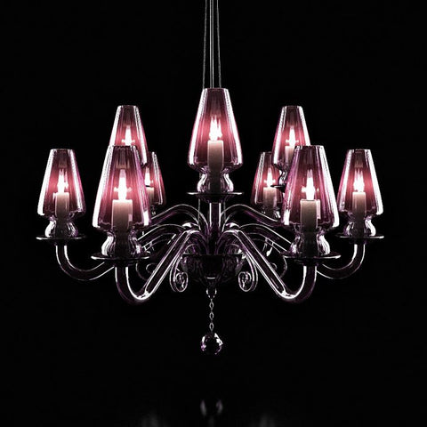 Dramatic purple Italian glass chandelier with Swarovski pendant