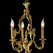 Antique-style 3 light gold-plated candle chandelier