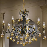 8 Light fruit chandelier with green and gold frame